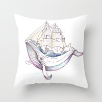 the whale Throw Pillows featuring whale by Ana Grigolia