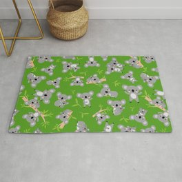 Koala Cute Kids Blue Koalas Animal Pattern Green Rug