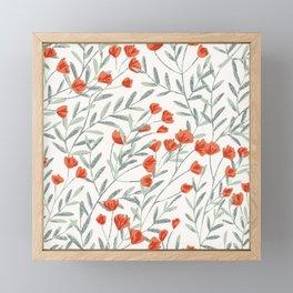 Orange Field Flowers  Framed Mini Art Print