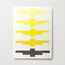 Mid Century Minimalist Ancient Aztec Inca Geometric Pattern Watercolor Yellow Colorful Gouache Paint Metal Print