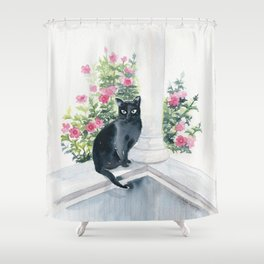 Guard Cat On Duty Shower Curtain