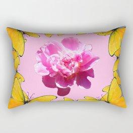 YELLOW BUTTERFLIES & PINK PEONY ON PINK-GREY ART Rectangular Pillow