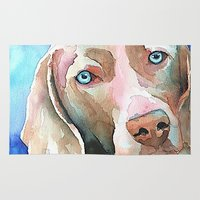greg guillemin Area & Throw Rugs featuring Greg The Weimaraner by bmeow