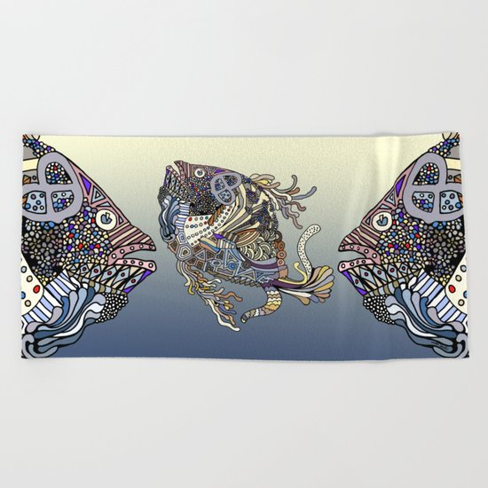 Dragon Fish (Color) Beach Towel