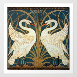 Walter Crane Swan, Rush And Iris Art Print