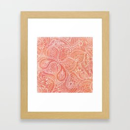 Lacey Pattern on Coral Framed Art Print