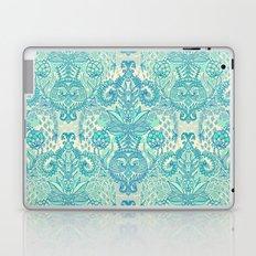 Botanical Geometry - nature pattern in blue, mint green & cream Laptop & iPad Skin