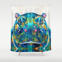 Hippopotamus Art - Happy Hippo - By Sharon Cummings Shower Curtain
