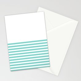 Turquoise Blue Half Stripes Stationery Cards