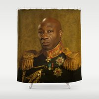 replaceface Shower Curtains featuring Michael Clarke Duncan - replaceface by replaceface