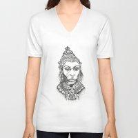 hindu V-neck T-shirts featuring Hindu Deity (Hanuman) by The Artful Yogini