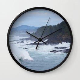 Crashing Waves In Blue Wall Clock