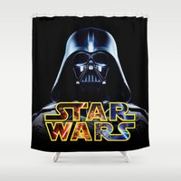 hero Shower Curtains featuring Hero Space by Febrian89