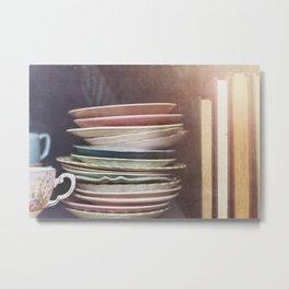 Vintage teacups, saucers and books Metal Print