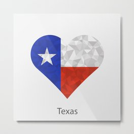 Texas flag heart in geometric,mosaic polygonal style.Love to country and state. Metal Print