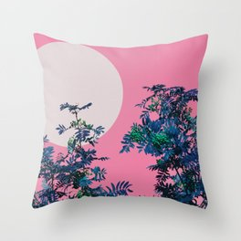 Pink sky and rowan tree Throw Pillow