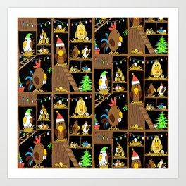 Chicken Coop Christmas - funny chickens, farm, holidays Art Print