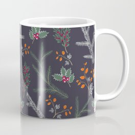 Seamless pattern with floral branches winter christmas hand drawn texture background Coffee Mug