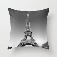 eiffel Throw Pillows featuring eiffel by Michelle Loidl