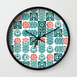 Swedish folk flowers in green Wall Clock