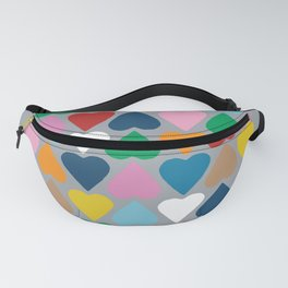 Up and Down Hearts on Grey Fanny Pack