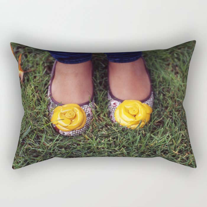 Yellow Flower Shoe! Rectangular Pillow