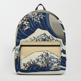 The Great Wave of Pugs Vanilla Sky Backpack