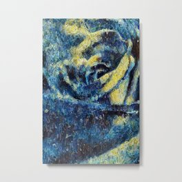 Rose in the Night. Blue. Painting Metal Print