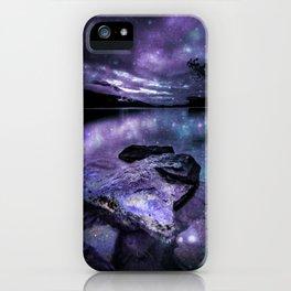 Magical Mountain Lake Purple Teal iPhone Case