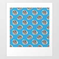 african curls blue Art Print