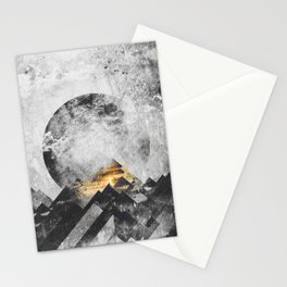One mountain at a time - Black and white Stationery Cards