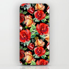 Hand painted black red watercolor roses floral iPhone Skin