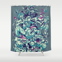 ninja turtles Shower Curtains featuring Teenage Zombie Ninja Turtles by Charlie Layton