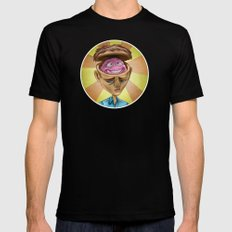 Happy Brain MEDIUM Black Mens Fitted Tee