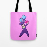 jjba Tote Bags featuring JJBA :: Josuke and Crazy Diamond Ver.1 by Thais Magnta Canha