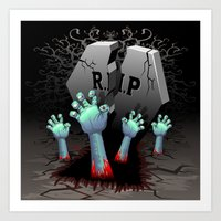 Zombie Hands on Cemetery Art Print