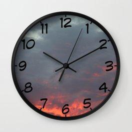 Irish Skies - Fiery Sky on a Summer Evening Wall Clock