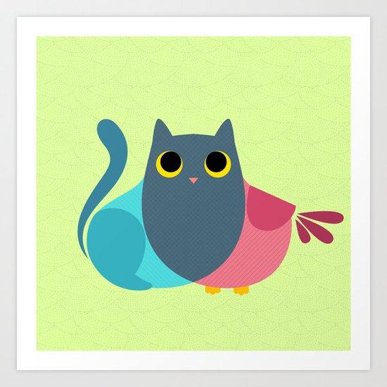Owlcat Venn Diagram Art Print by Sylvia Nakamura | Society6
