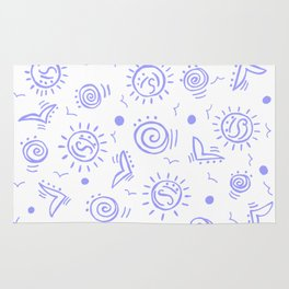 Periwinkle Pattern of Seagulls Suns and Shells Rug