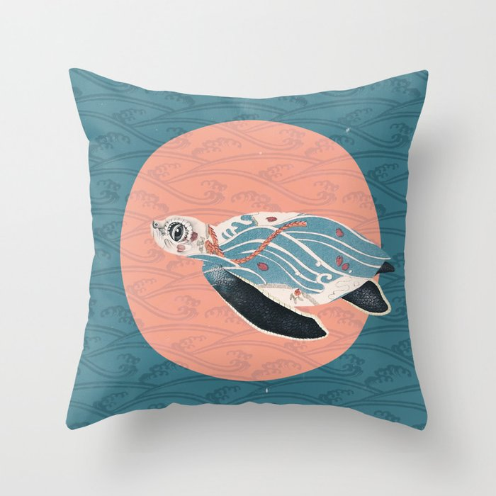 Sea Turtle Polka Throw Pillow