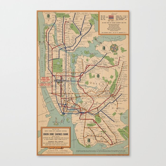 Queen Subway Map Nyc.New York City Metro Subway System Map 1954 Canvas Print By Vintageartstore