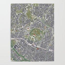 Tokyo city map engraving Poster