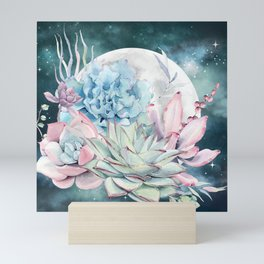 Beautiful Succulents Full Moon Teal Pink Mini Art Print