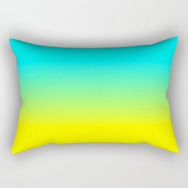 Neon Aqua and Neon Yellow Ombré  Shade Color Fade Rectangular Pillow