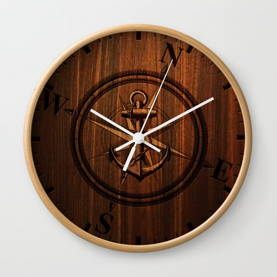 Wooden Anchor Wall Clock