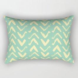 Modern Brush Stroke Chevrons - Green & Yellow Rectangular Pillow