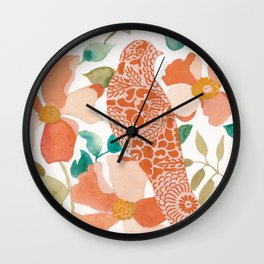 Peach Bird Wall Clock