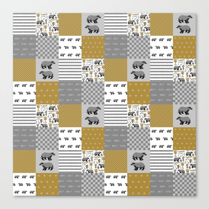 Badger House cheater quilt patchwork wizarding witches and wizards Canvas Print