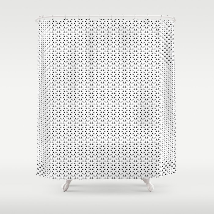 Black and White Basket Weave Shape Pattern - Graphic Design Shower Curtain