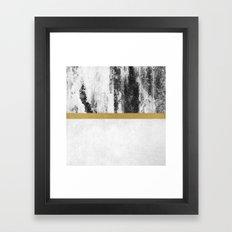 Golden Line / White Framed Art Print